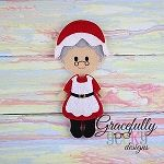 Mrs Claus Dress up Doll - Embroidery Design 5x7 hoop or larger