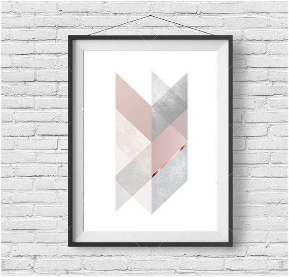 Chevron Print Chevron Art Scandinavian Print Scandinavian Poster Geometric Print Blush and Copper Print Decor Gray Art Pink Copper Decor