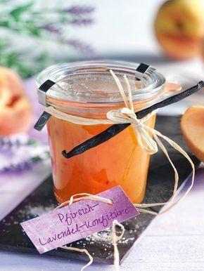 Lavendel gibt dieser Konfitüre mit Pfirsich einen besonderen Pfiff! #Pfirsich #Lavendel #Konfitüre #Frühstück #Rezept