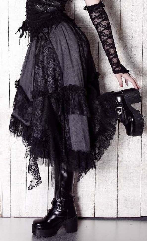 .Tragic Beautiful -  Tattered Skirt Grey Black