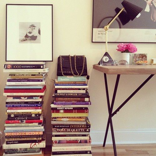 21 chic ways to decorate your apartment with books - stacked