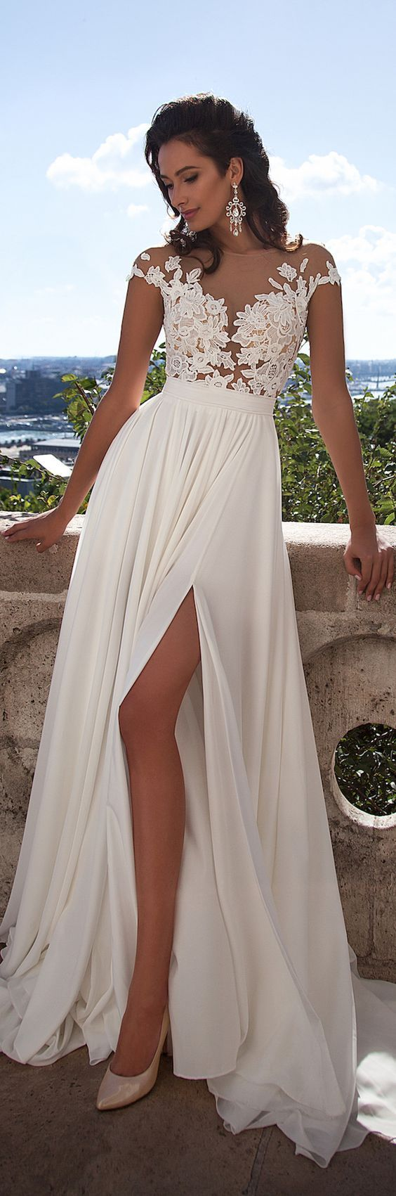 Milla Nova 2016 Summer Beach Chiffon Wedding Dresses ~ Lace Top Side Slit  Elegant Bridal Gowns ~ So Beautiful!!!