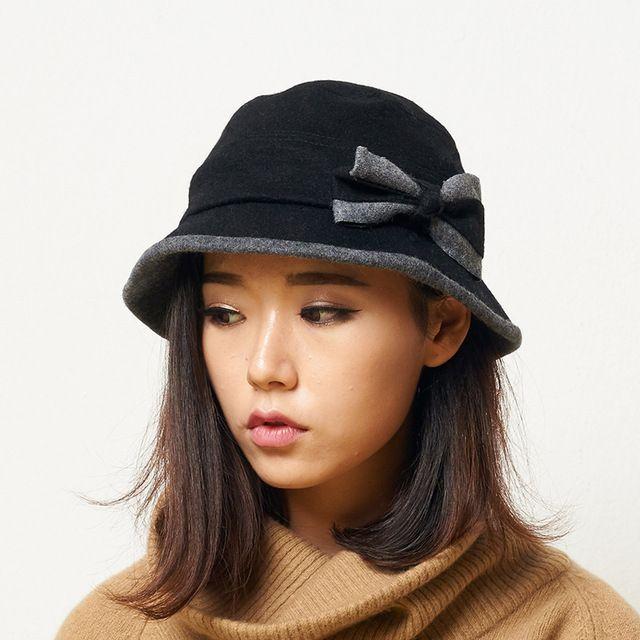 Hembra invierno boinas vintage arco para mujer sombreros de ala sombreros de fieltro francés de moda bowler sombrero fedora sombrero de lana para las mujeres yf5006