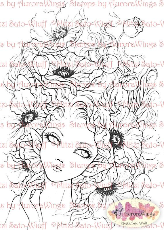 Digital Stamp – Instant Download – Red Poppies – Elf with Poppy Blooms – Fantasy Line Art for Cards & Crafts by Mitzi Sato-Wiuff – sibel