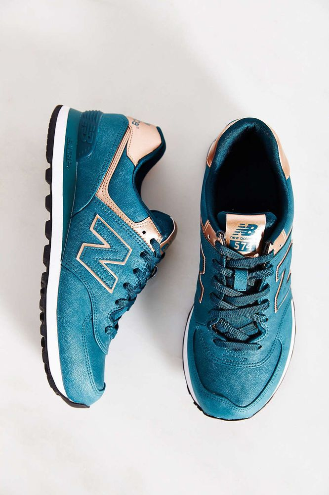 New Balance 574 Precious Metals Running Women Sneakers Emerald Green