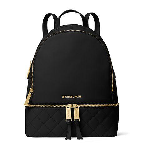 Michael Kors Rhea Medium Quilted-Leather Backpack, Black(Black) My Christmas gift 2017