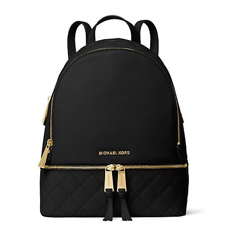 Michael Kors Rhea Medium Quilted-Leather Backpack, Black(Black)