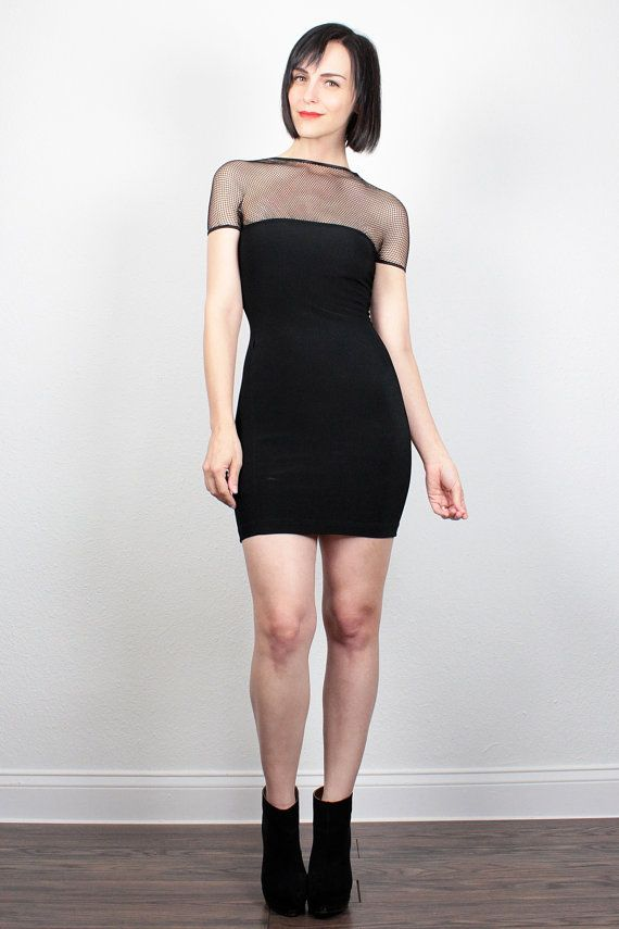 Vintage 90s Dress 1990s Dress Black Dress Club Kid Dress Mini Dress Bandage Dress Bodycon Dress Sheer Mesh Netting Party XS Extra Small XXS by ShopTwitchVintage #vintage #etsy #90s #1990s #dress #minidress #bandage #bodycon #mesh #fishnet #sheer
