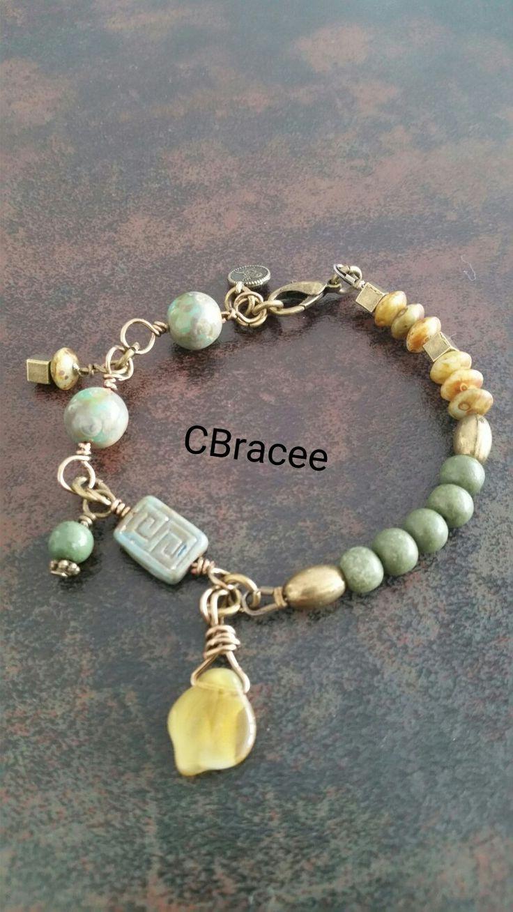 Czech&green glass beads&brass