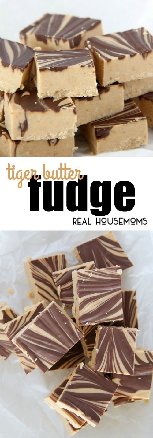 All you need is 3 ingredients to make this addictive Tiger Butter Fudge.  It's the perfect blend of peanut butter and chocolate! via @realhousemoms