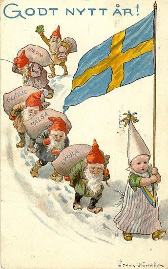 Tomtar leds av stjärngosse med Svenska flaggan, Jenny Nyström ca 1910