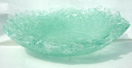 Cynthia is an amazing glass artist. She created this vessel from shards of tempered glass.