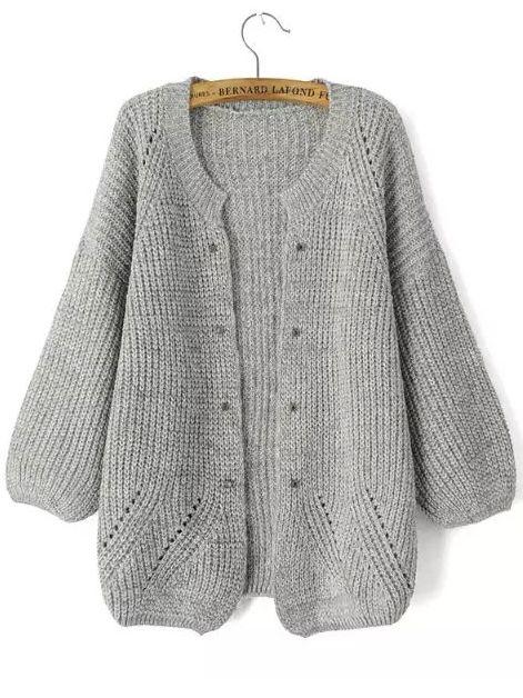 Light Grey Long Sleeve Rivet Knit Cardigan