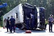 A Sky Express discount bus crashed and killed four in 2011. The National Transportation Safety Board said the crash was caused because the driver fell asleep and the company failing to manage fatigue. As a result, a new law has now increased the fine for carrying passengers without operating authority from $2,000 per violation to $25,000 per violation.