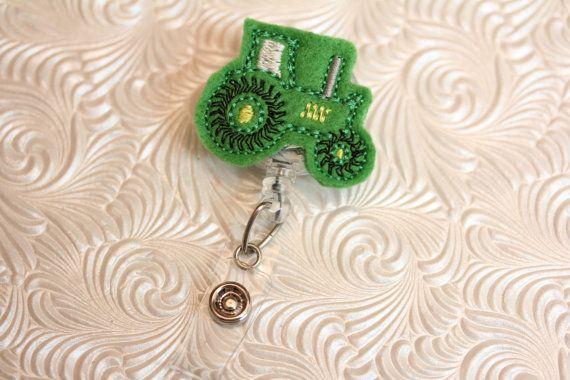 adorable tractor - professional nurse badge holder - retractable - badge reel - badge clip - name badge holder - felt badge reel