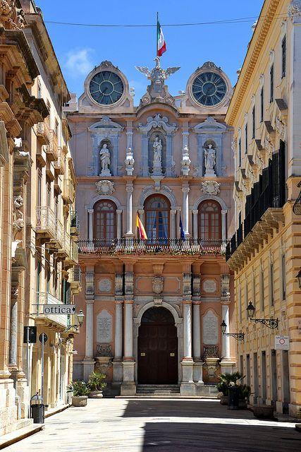 Corso Vittorio Emanuele at Palazzo Senatorio, Trapani, Sicily, Italy, via elizabetta marseglia
