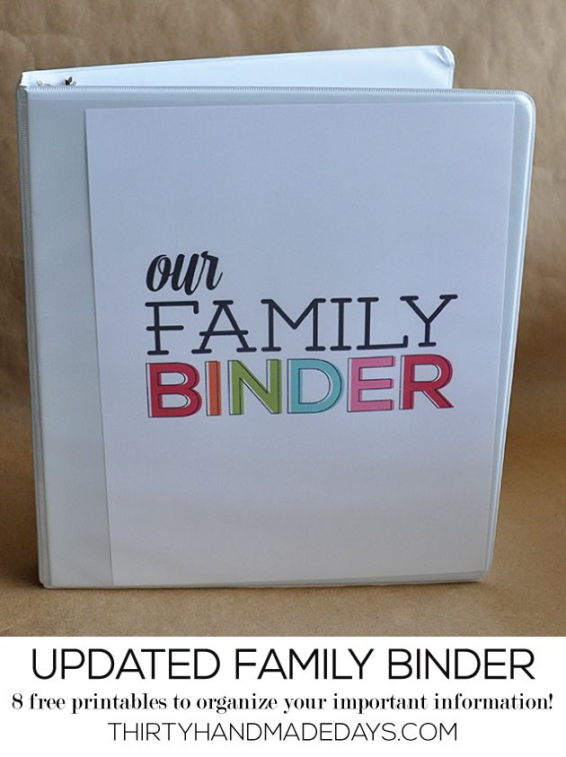 Updated Family Binder Printables- 8 amazing printables to help you create a binder for all of your most important information from www.thirt...