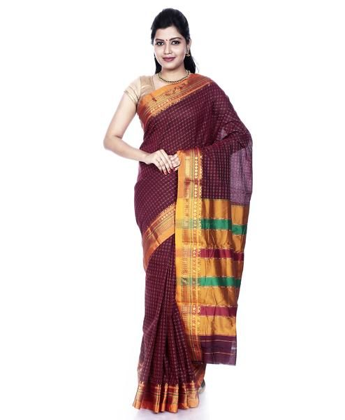5225376aca832f Deep red Ilkal Cotton saree with all over pattern and rich silk border | Shop  online in USA & Canada. #ilkalsaree #cotton #deepred #silkborder