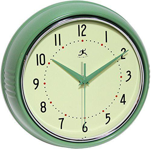 Infinity-Instruments-Retro-9-12-Inch-Round-Metal-Wall-Clock-Green-0-0