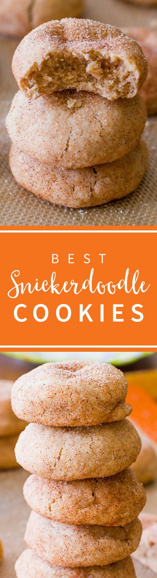 Soft and thick cinnamon snickerdoodles! These snickerdoodle cookies are so easy to make! Recipe on sallysbakingaddiction.com
