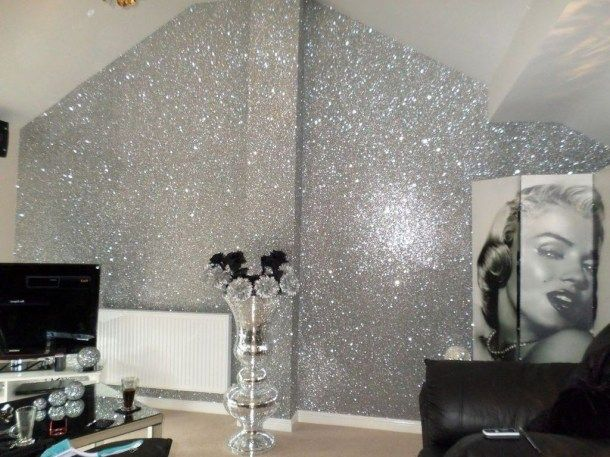Vintage Glitter Wall Paint Design Ideas For Your Room17 Glitter Paint For Walls Glitter Bedroom Silver Bedroom