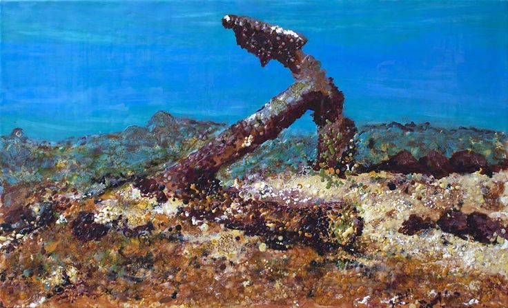 Underwater Anchor. 94cm x 57cm.Reference photo for this painting was supplied with permission from Pete Illage, Marine Archaeologist, Great Barrier Reef Marine Park Authority. The anchor is from a shipwreck on the Great Detached Reef in Far North Queensland circa 1810 - 1830 likely from the shipwreck Charles Eaton.  #shipwreck paintings, #shipwrecks,  #marine art,  #marine artist,  #Gayundah  #Cherry Venture  #rustart