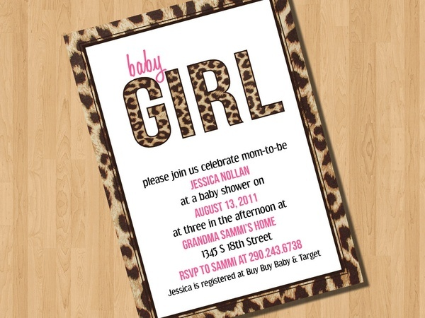 Baby Leopard Shower Invitation I Design You Print Ideas For The Nieces Nephews Pinterest Showers And