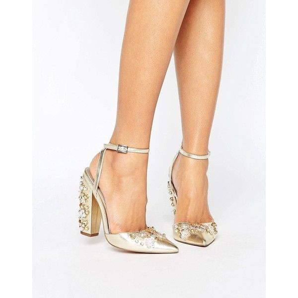 ASOS PALL MALL Bridal Embellished Heels ($97) ❤ liked on Polyvore featuring shoes, pumps, gold, ankle strap pumps, gold ankle strap pumps, gold high heel pumps, block-heel pumps and pointed toe high heel pumps