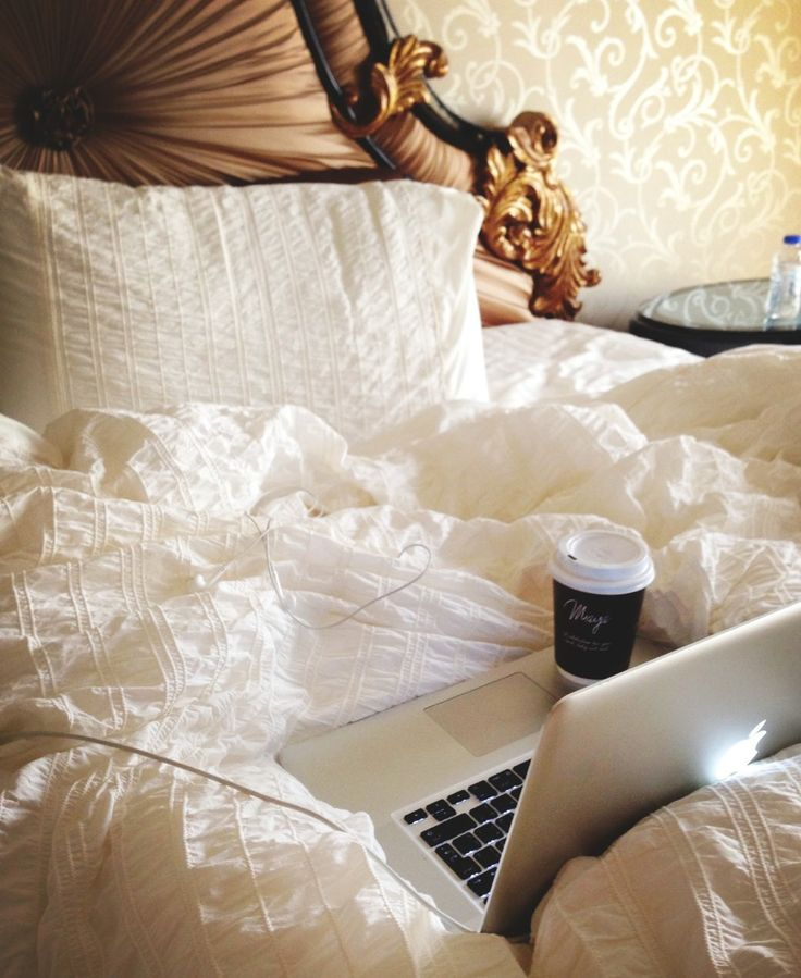 """when i saw this i wasn't like, """"Oh, how sweet and cozy."""" I was like, """"WHY THE FUCK DID YOU LEAVE COFFEE SITTING ON YOUR MAC WITH WHITE SHEETS?!?!"""""""