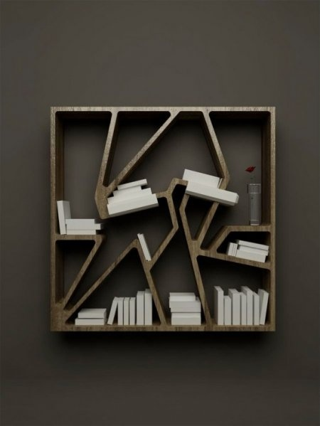 A bookshelf design is very unique and attractive, designed with a unique shape with the arrangement of the book is uneven. But this is increasingly making this unique bookcase. In addition to the unique shape of this bookcase is also equipped with a lamp that can help you to find a book when the dark.