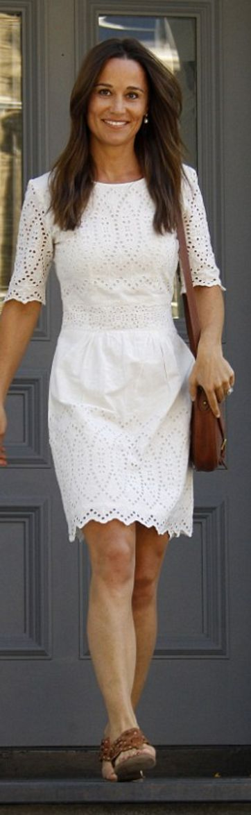 Pippa Middleton's white lace dress, handbag, and brown sandals