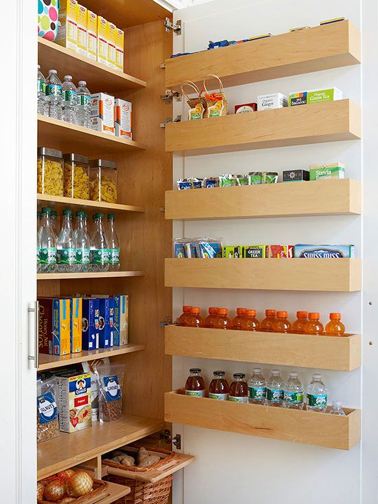 Multiply the capacity of any cabinet when you add storage to the interior side of the door. Six shallow shelves fit neatly between this door and the interior shelves to offer space for single-file lines of little luxuries and kitchen dry goods. Lips on each door shelf keep items from tumbling off./