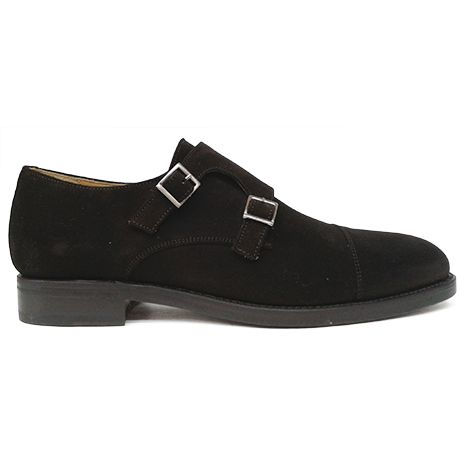 Zapato monkstrap doble hebilla en ante marrón de Berwick 1707 vista lateral