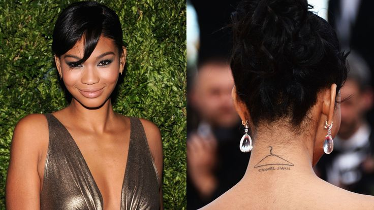 Iman has a hanger sketched along the back of her neck with her name written beneath it.   - HarpersBAZAAR.com