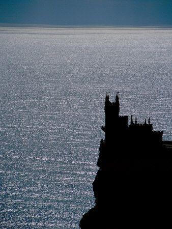 Medieval Castle Silhouette, Swallow's Nest Palace, Black Sea, Yalta, Crimea, Ukraine