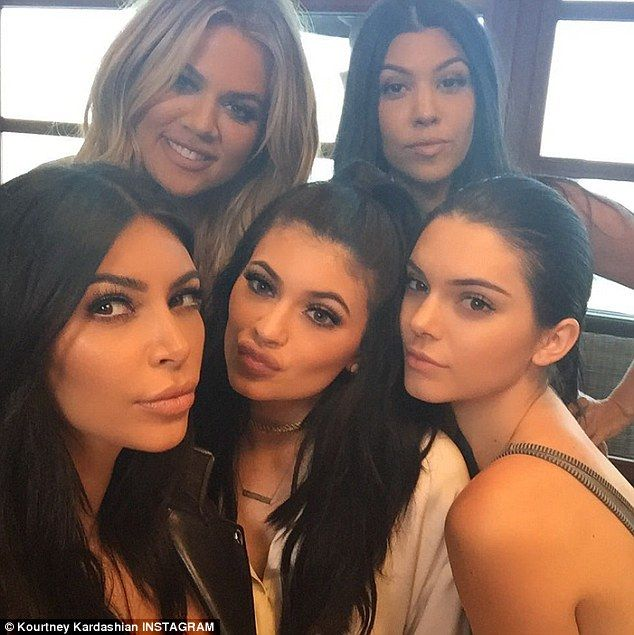 'Sister squad': Also at the family dinner were Khloe and newly single Kourtney Kardashian as well as Kendall Jenner and birthday girl Kylie