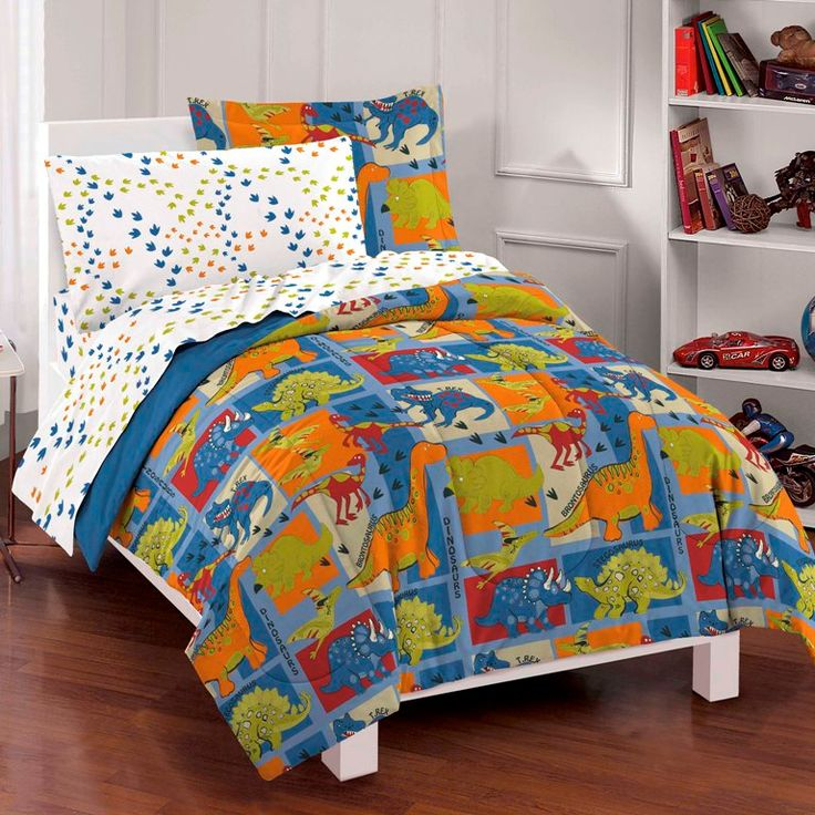 Blue Green Dinosaur Little Boys Bedding Twin Or Full Comforter Set Bed In A Bag