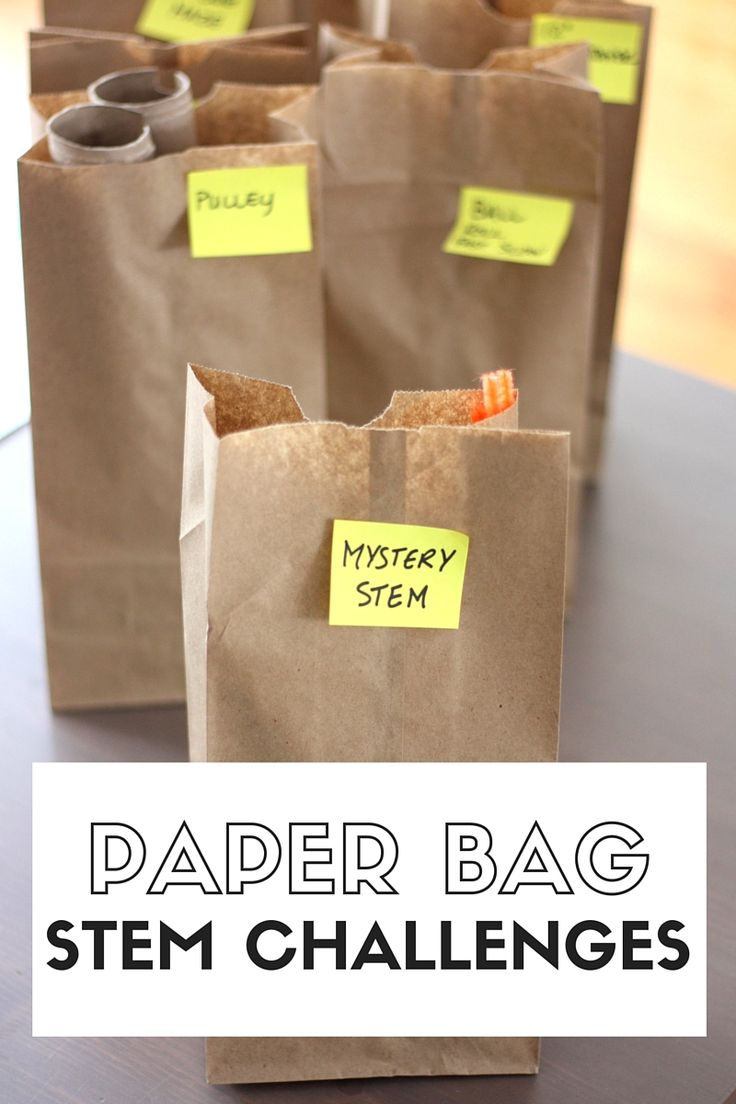 Paper bag STEM challenges week of STEM activities for kids