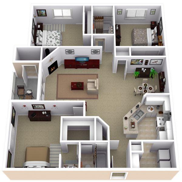 apartment 3 bedroom.  25 More 3 Bedroom 3D Floor Plans 3d Bedrooms and interior design