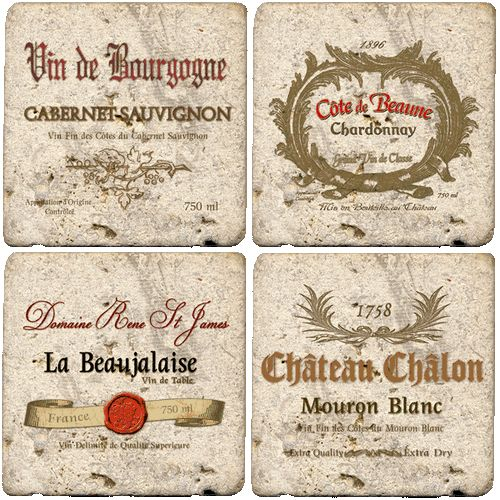 These Travertine Coasters- Wine Labels are beautiful and functional stone wine coasters. Each travertine wine coaster has a natural edge and a full cork backing so it will not scratch your tabletop.
