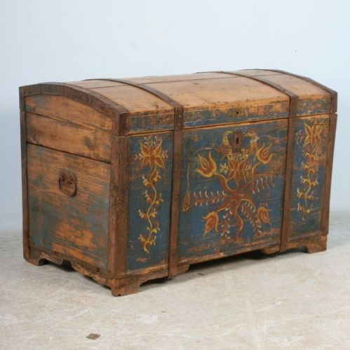 German painted trunks buy 2600 0 antique dower chest for Hand painted chests
