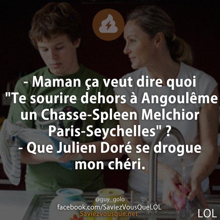 """- Maman ça veut dire quoi """"Te sourire dehors à Angoulême un Chasse-Spleen Melchior Paris-Seychelles"""" ? - Que Julien Doré se drogue mon chéri."""
