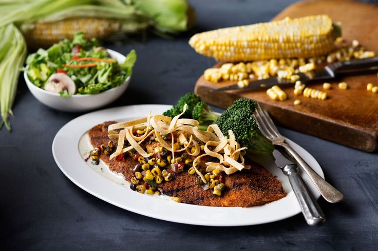 Tilapia | With roasted corn & black bean salsa and a cilantro-chipotle ...