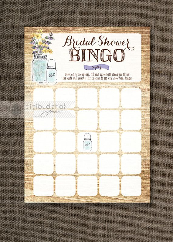 Mason Jar Bridal Shower Bingo 5x7 Wildflowers Shabby Chic Bridal Shower Game Card 5x7 Printed Game Cards - Piper Style Available at digibuddha.com