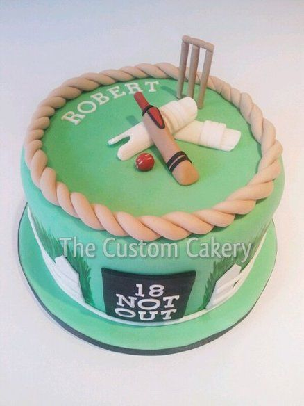 '18 Not Out' Handpainted cricket cake Cake by Mellie