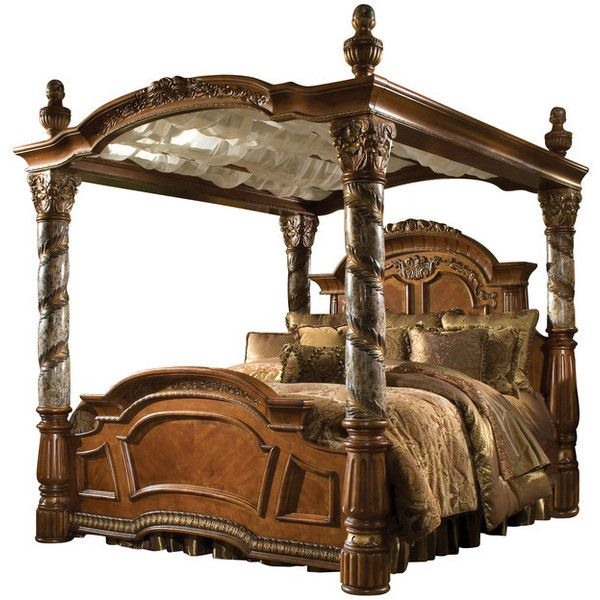 Villa Valencia California King Size Canopy Poster Bed - Victorian -... ❤ liked on Polyvore featuring home, furniture, beds, california king bed, victorian bed, canopy bed-frame, western king bed and 4 post canopy bed