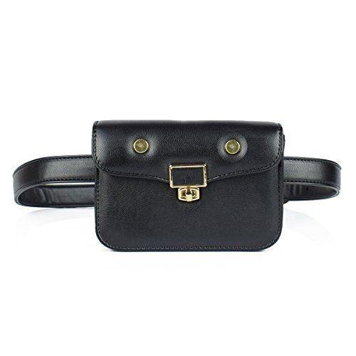 Womens Waist Bag Pouch Fashion Belt Trendy Fanny Travel Wallet Black Leather NEW #WomensWaistBagPouchFashionBelt