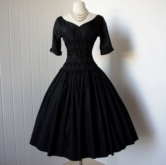 vintage 1950s dress ...phenomenal dior inspired SUZY PERETTE new look black full skirt dress with spanish flair via Etsy