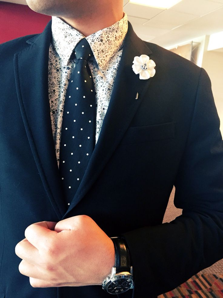 Black Suit Black And White Flower Print Shirt Black