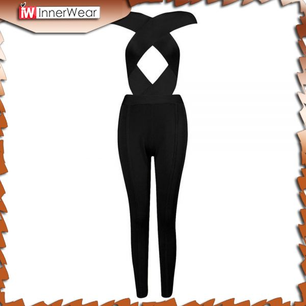 New Arrival Rayon Cross Cut Out High Waist Sexy Women's Bandage Jumpsuits..........................................  Price : $67.50